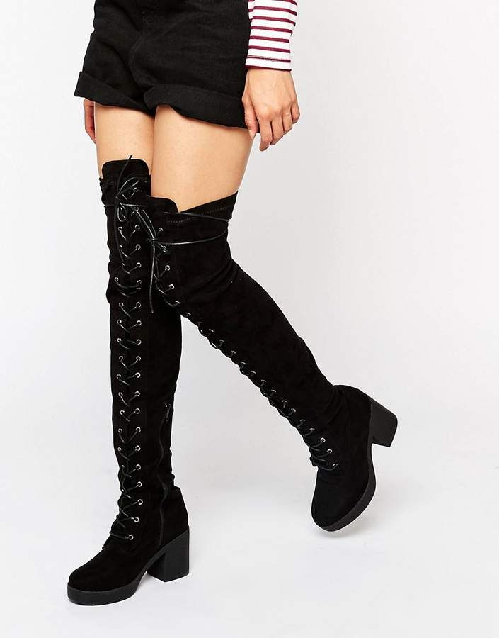 12302655004f Truffle Collection Truffle Lace Up Over The Knee Chunky Boot ...