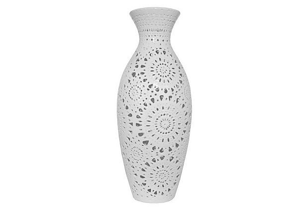 "34"" Ceramic Vase, White on OneKingsLane.com"