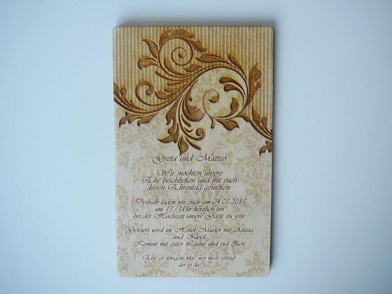 holz-einladungskarten, einzigartig, vintage | einladungen