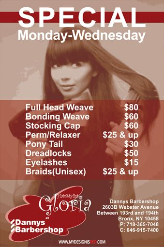 A flyer for a local hair stylist redesign qreative for About salon services