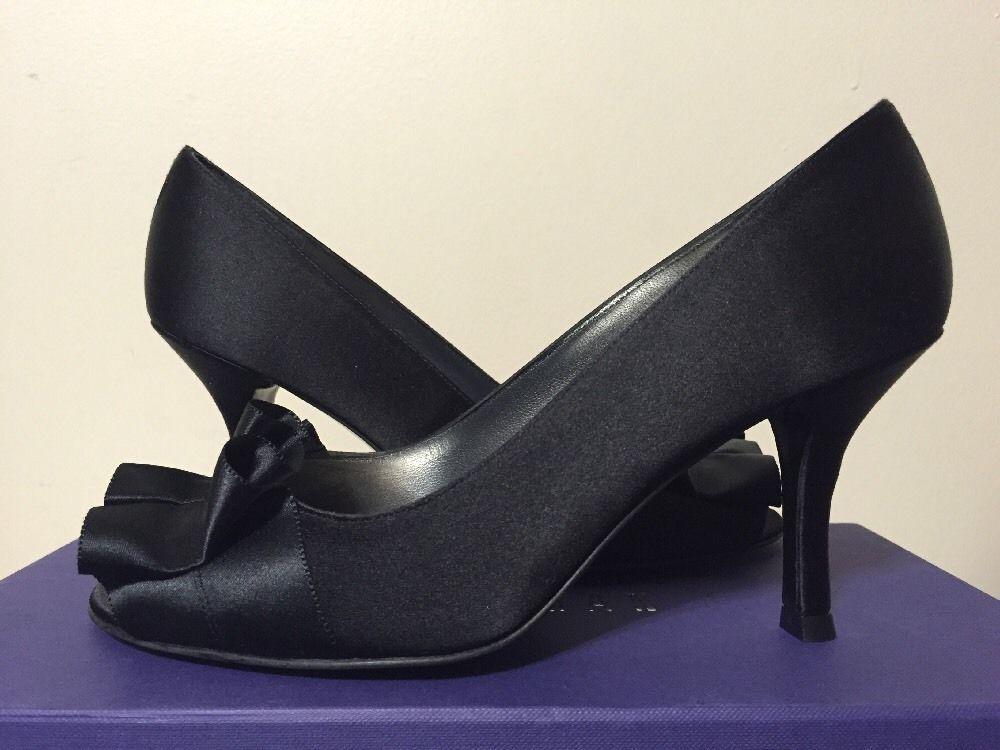 e54a02abab9e Stuart Weitzman Gigiritz Black Satin Women s Dressy Evening Heels Pumps 6.5  W  StuartWeitzman  FashionDressyEveningHeelsPumps