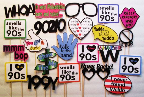 22 Piece I Love The 90s Photobooth Props Photo Booth Glasses 1990s Phrases 90s Tv 90 39 S Movies 90s Party Decorations 90s Theme Party Decade Party