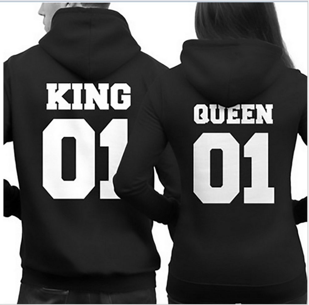 194c88cfc6 Couple Matching Hoodies King 01 and Queen 01 Back Print Cute Hooded  Sweatshirts…