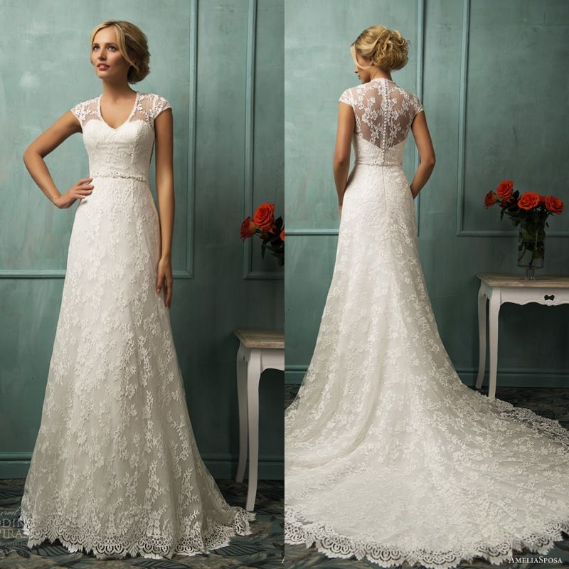 Sexy v neck see through lace corset a line lace wedding for See through corset wedding dresses