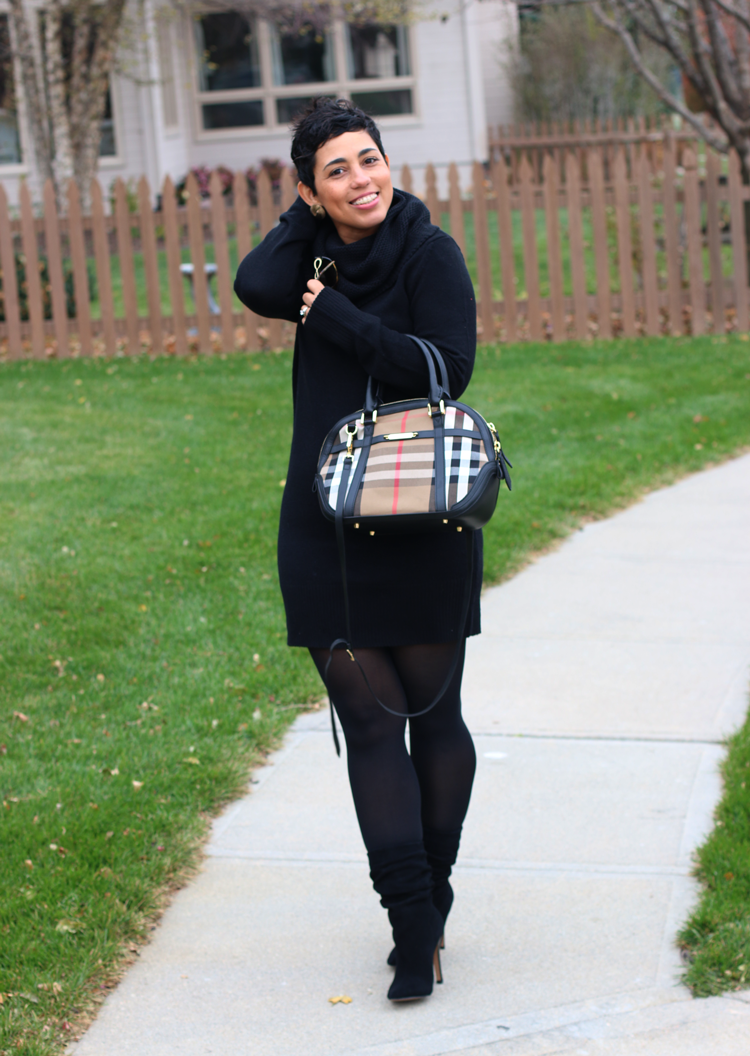 Black Sweater Dress   Slouchy Boots - Mimi G Style | style ...