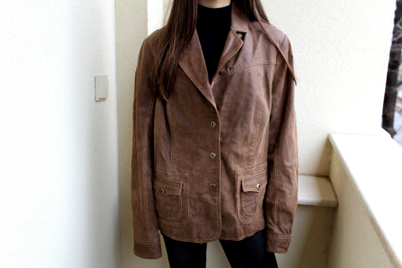Vintage Suede Leather Jacket Brown Leather Coat Women S Etsy Brown Leather Coat Leather Jackets Women Leather Coat Womens [ 2000 x 3000 Pixel ]