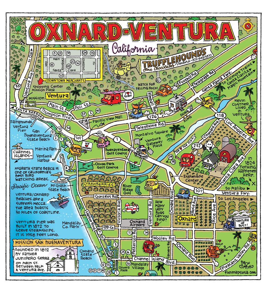 Fun Illustrative Map Of Oxnard And Ventura From Fun Maps USA - Los angeles ventura map