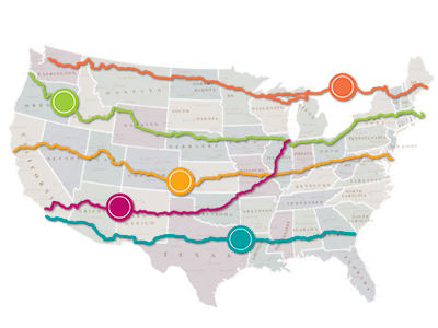 Driving Trip Planner >> East West Routes Road Trip Usa Road Trips In 2019 Road