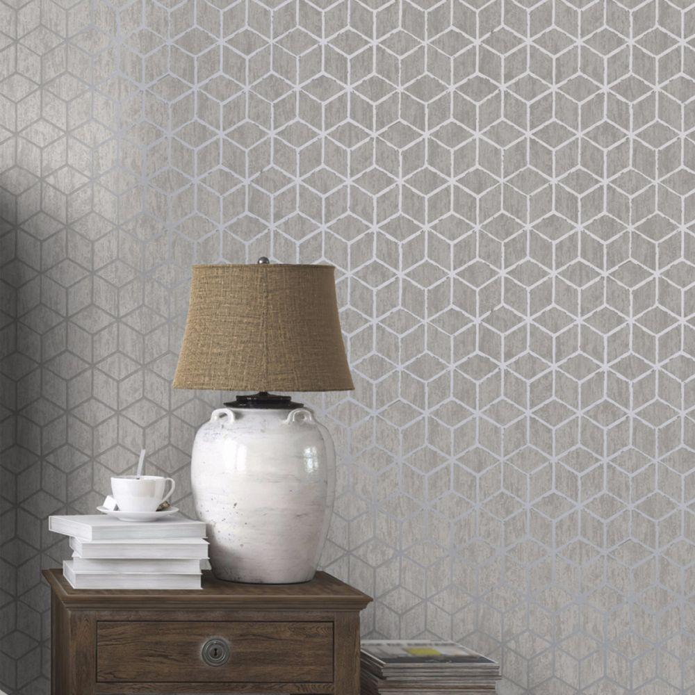 Rochester Geometric Wallpaper Silver Holden Decor 65200