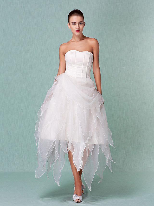A-Line Princess Sweetheart Asymmetrical Organza Wedding Dress with ...
