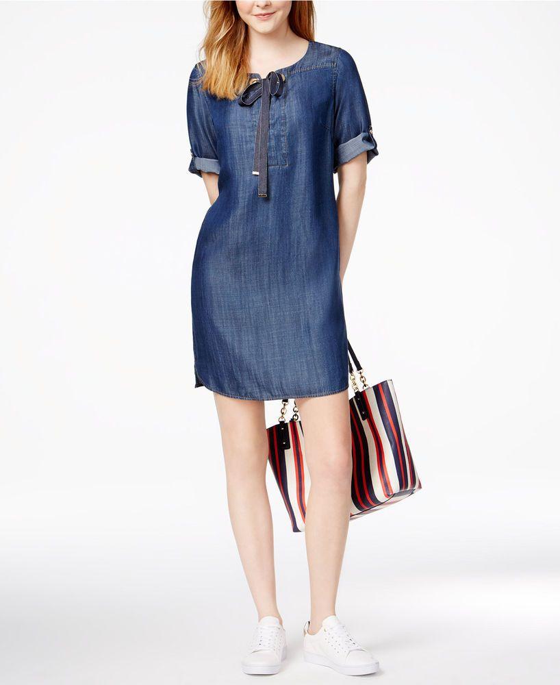 c2638b0c865 Tommy Hilfiger Grommet-Detail Shift Dress Indigo Blue Sz 16  TommyHilfiger   ShiftDress  Casual  fashion  shopping  style
