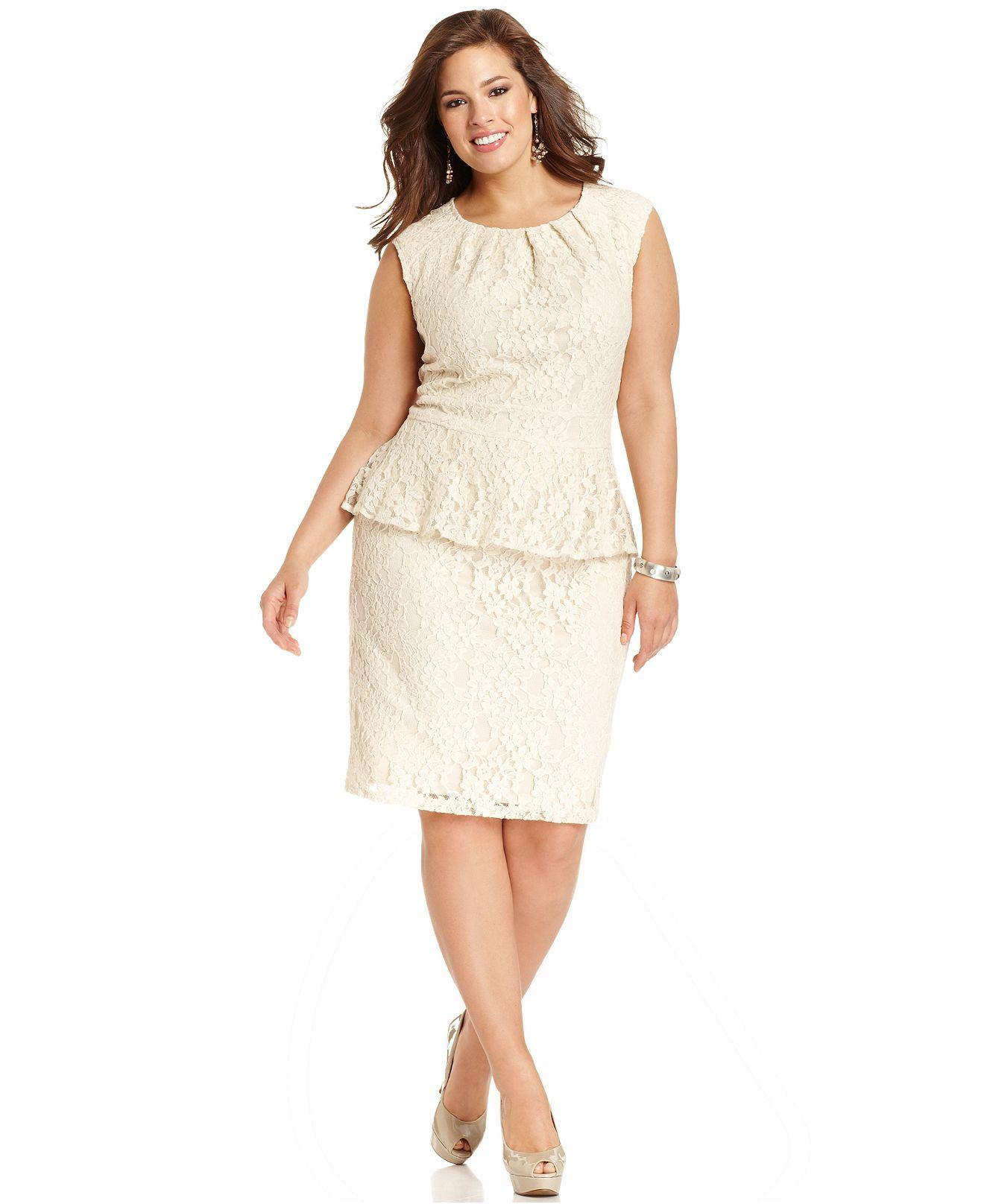 2f3cb3c45a7d Spense Plus Size Dress, Cap-Sleeve Lace Pleated Peplum - Plus Size Dresses  - Plus Sizes - Macy's $89