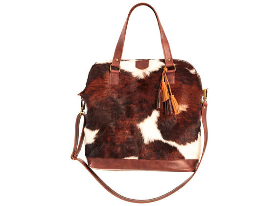 Cowhide Bag Cow Hide Purse Brown Leather Crossbody Oversized