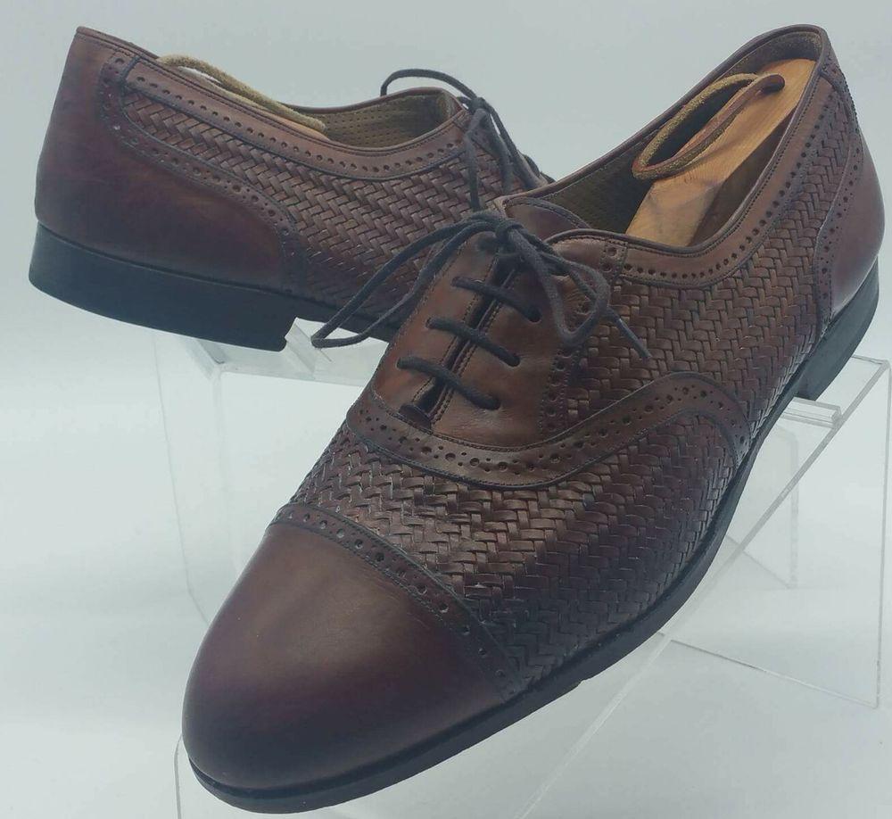 MEZLAN MARTINIQUE Brown Woven full $$ Brogue Captoe Oxford Shoes 10.5  #Mezlan #DressShoes