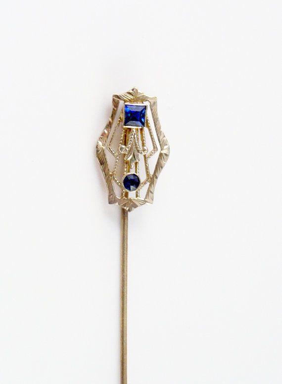 Antique 14k Gold Sapphire Stick Pin Art Deco Stick Pins Antique Hats Hat Pins