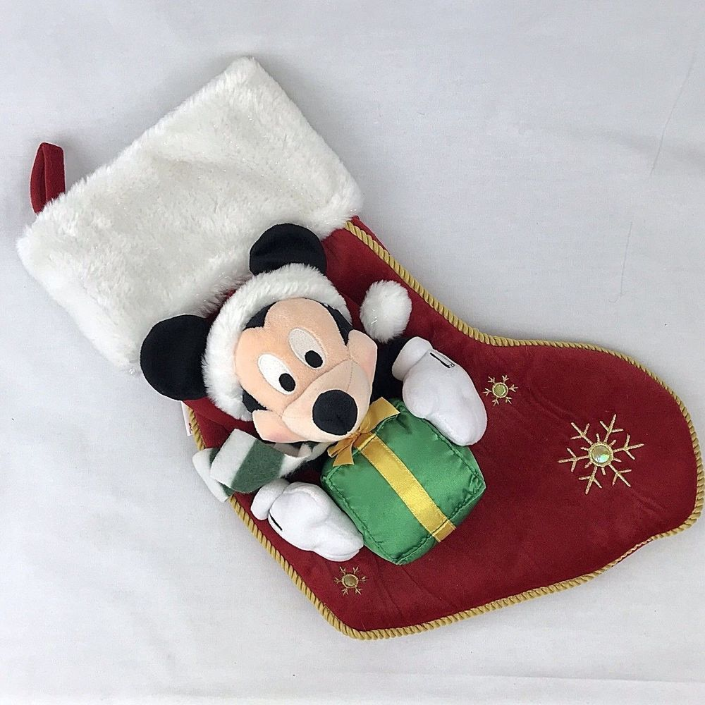 Disney Store Minnie Mickey Mouse Plush Christmas Stocking Red Green 2017