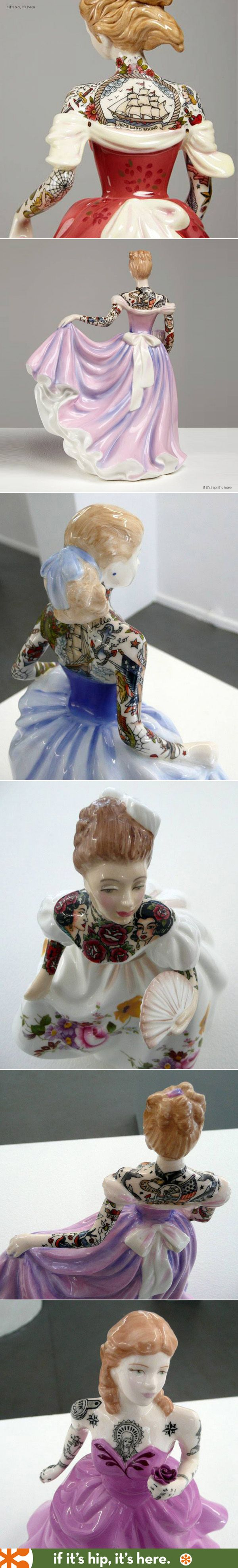 Tattooed Porcelain Figurines by Jessica Harrison.