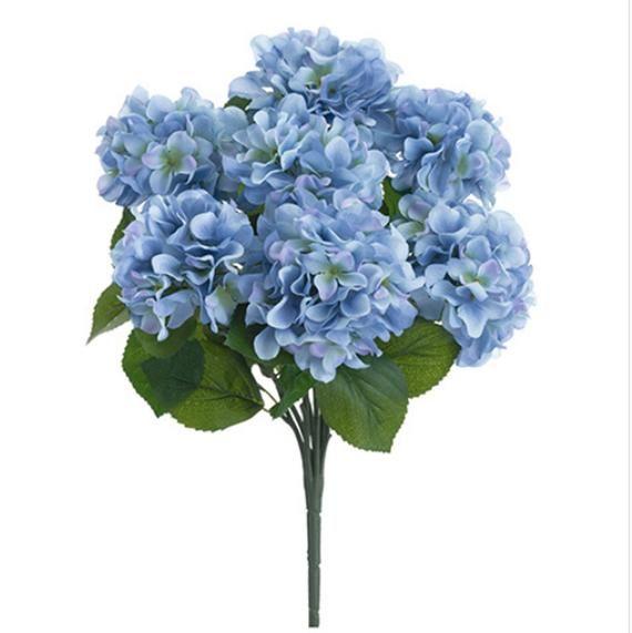 Artificial Hydrangea Bush Dusty Blue Silk Flowers 7 Heads Hydrangea Bouquet Light Blue Wedding Artificial Hydrangeas Hydrangea Bush Artificial Silk Flowers