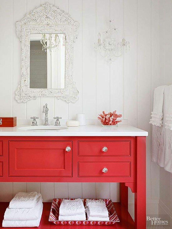 cozy coral color ideas for bathroom02  bathroom red