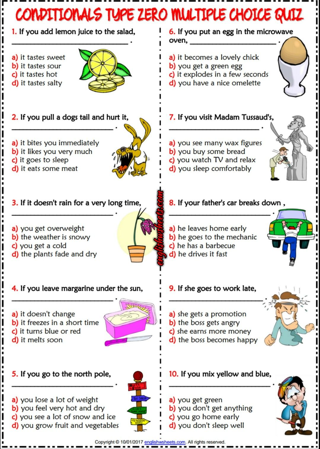 Conditionals Type 0 ESL Printable Multiple Choice Quiz – Multiple Choice Worksheets