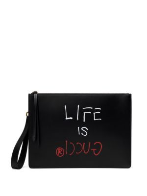 e4824ec7c78 GUCCI Life Is Gucci Leather Wristlet.  gucci  bags  shoulder bags  lining   pouch  accessories  suede