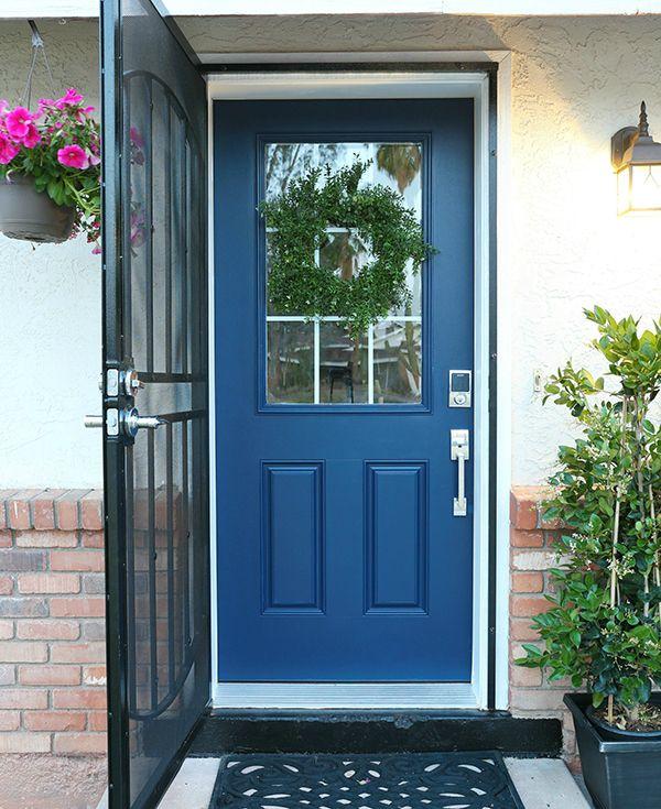 Front Door Update | Non Fade Front Door Paint in color Serene blue by Classy Clutter & Front Door Update | Non Fade Front Door Paint in color Serene blue ... Pezcame.Com