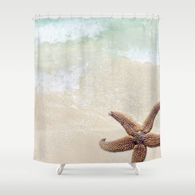 Beach And Starfish Simply Summer Shower Curtain In Light Aqua Brown And Tan Colors Beaches Decor Beach Shower Curtains Curtains Shower Curtain