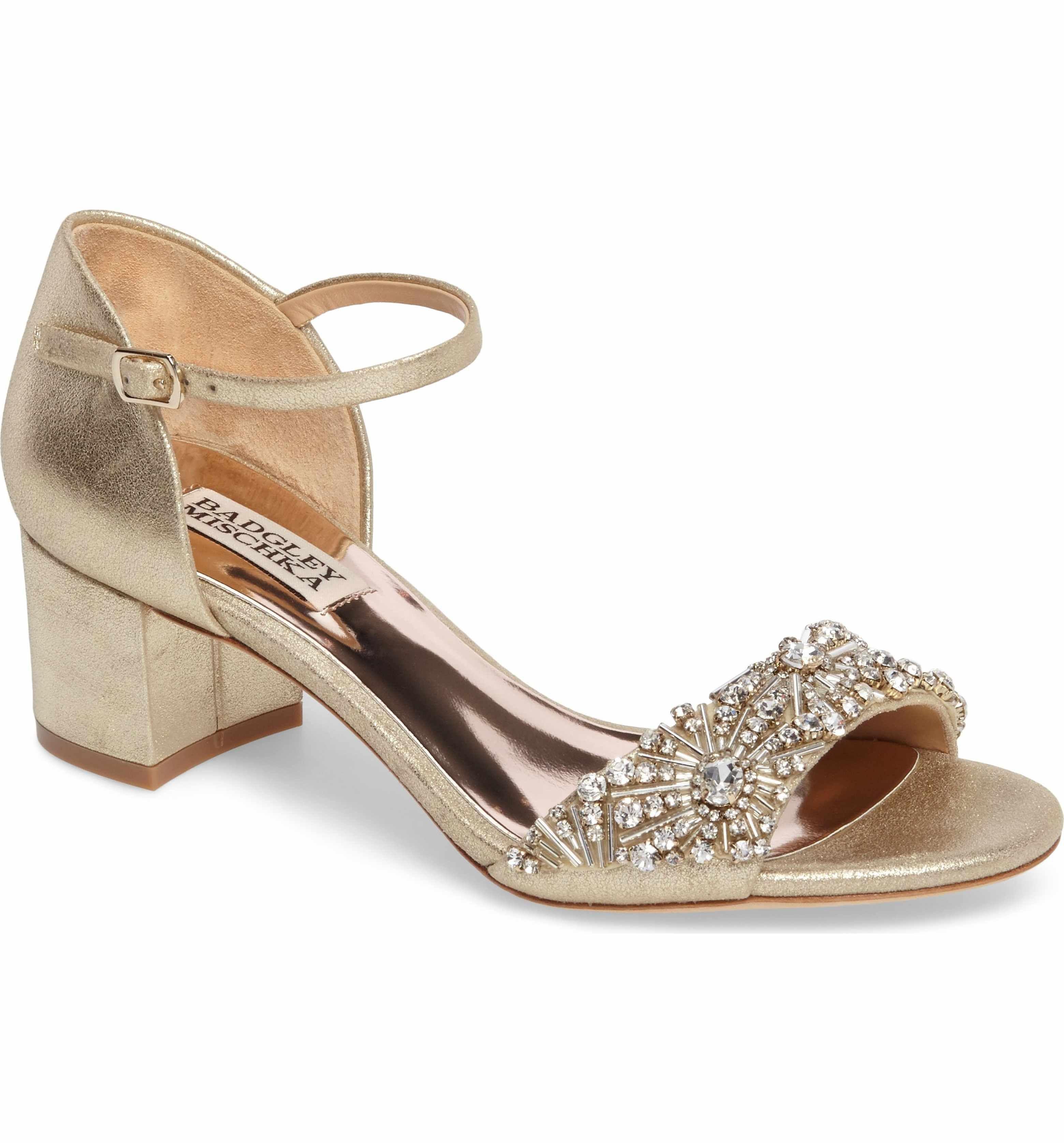 Badgley Mischka Mareva Metallic Suede Jeweled Block Heel Dress Sandals i5xdM