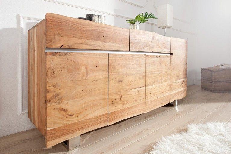 Massives Baumstamm Sideboard Mammut 170cm Akazie Massivholz Industrial Chic Kufengestell Aus Chrom Holz Wohnen