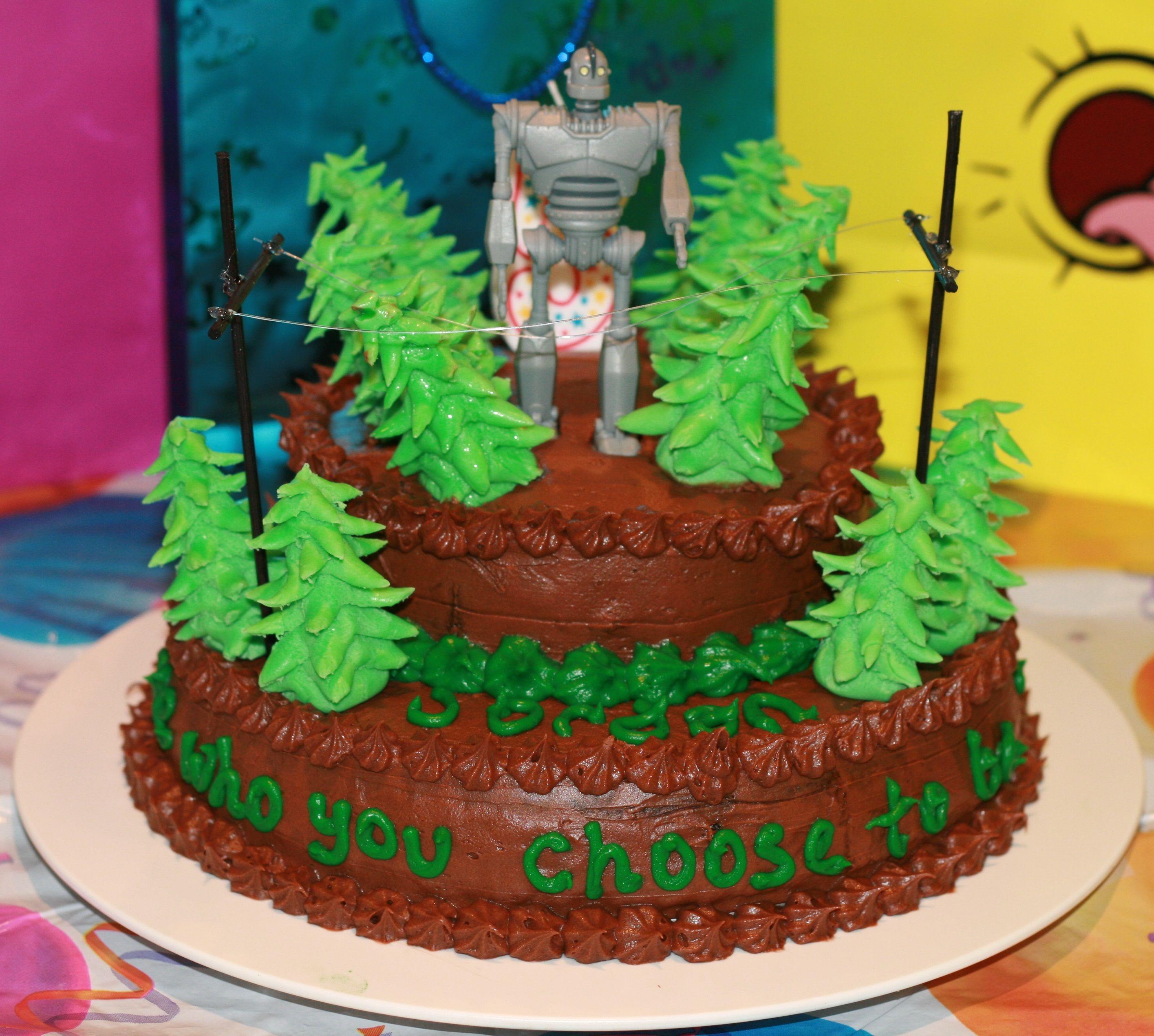 Terrific Iron Giant Cake Giant Cake Third Birthday Party Birthday Parties Funny Birthday Cards Online Alyptdamsfinfo