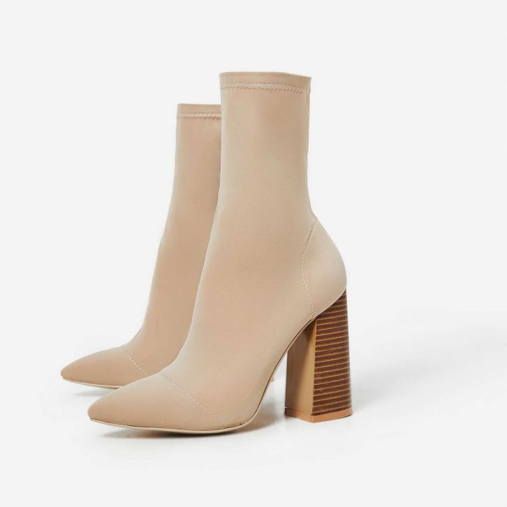 3b2fd4525d2 Charlie Block Heel Ankle Boot In Nude Lycra