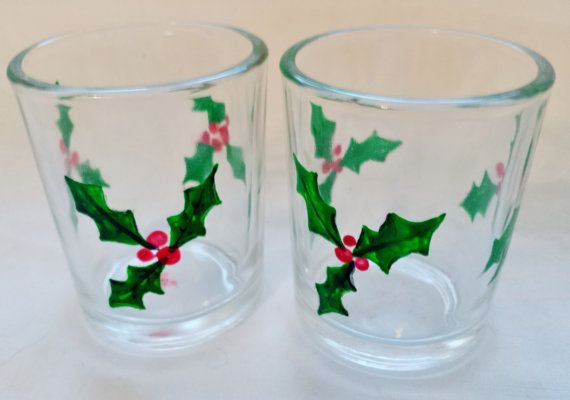 Holly and Berries Hand Painted Glass small votive glass by EkesArt