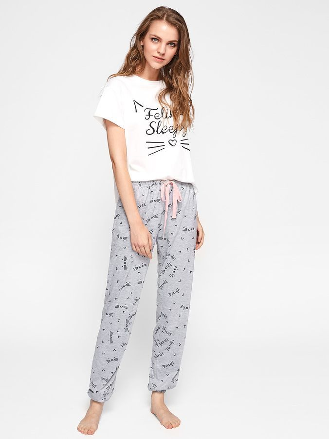 5fcd8b4c7e Cat Pattern Print Top And Pants Pajama Set in 2019 | Products | Cat ...
