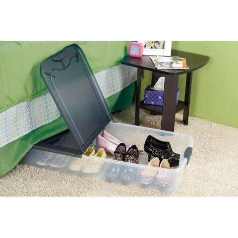 Sterilite Under Bed Storage Sterilite® Ultra™ Clear Underbed Storage Tote  Transparent With