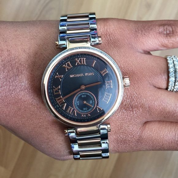 4a4e3d3bcb45 Michael Kors Skylar Watch MK5957 Michael Kors two tone watch   silver and  rose gold band   face is black   rose gold dial   scuffs on 3 of the links  below ...