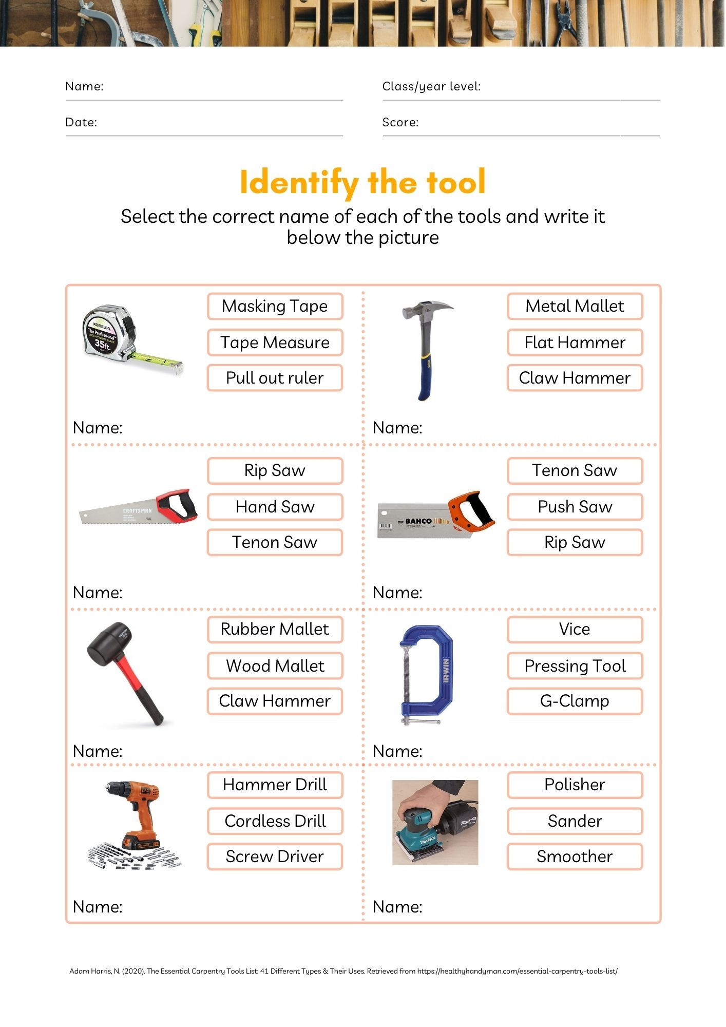 Woodworking Tools Worksheet Tools And Equipment Woodworking Tools Woodworking [ 2000 x 1414 Pixel ]