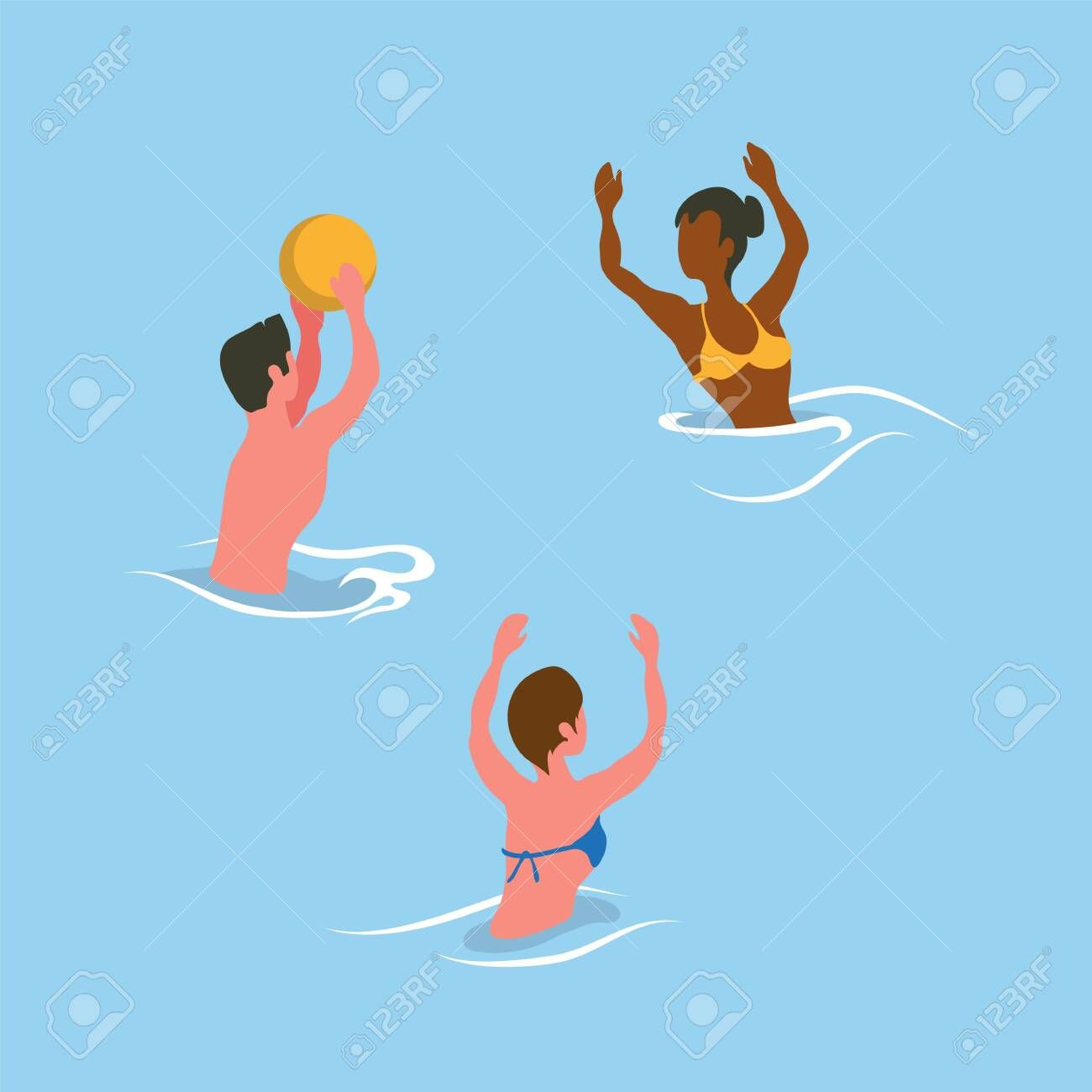 People Catching Ball In Water Summer Aqua Activity Man And Woman Wearing Swimsuit Flat Design Style Splashing And Playing Volle Sketch Book Activities Aqua