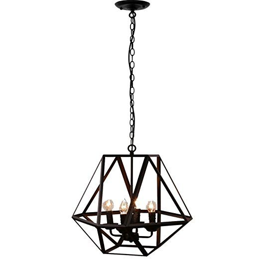 Possible foyer light Unitary Brand Antique Black Metal Hanging Lantern Candle Chandelier with 4 E12 Bulb Sockets 160W Painted Finish