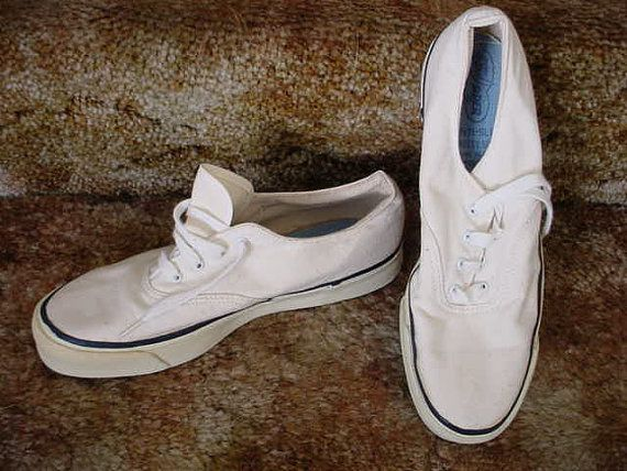 87a88b44e4dd47 Vintage Sperry Top Sider White Canvas Deck Shoes 8M 70s