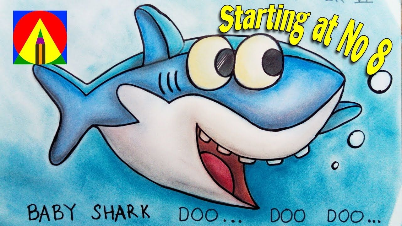 Baby Shark Song Drawing starting at Number 8 and Coloring Pages Learn Co...  | Drawing
