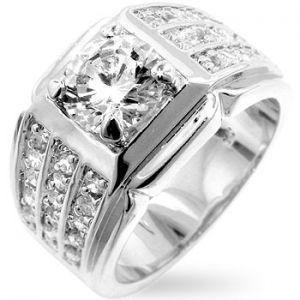 Men s Iced 14K White Gold Simulated Diamond Bling Ring  58c533335245