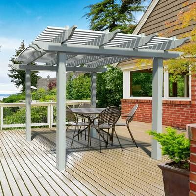 All Things Cedar 7 Ft W X 6 Ft D Solid Wood Pergola Wayfair Outdoor Pergola Aluminum Pergola Modern Pergola