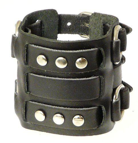 Wide Triple Strap Leather Cuff Wrap Gothic Wristband Bracelet With Buckle Fastening - BLACK LEATHER xX4JdRdkf