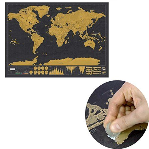 Leagueco novelty world map educational scratch off map p https leagueco novelty world map educational scratch off map poster travel map wall map amazon kitchen home gumiabroncs Images