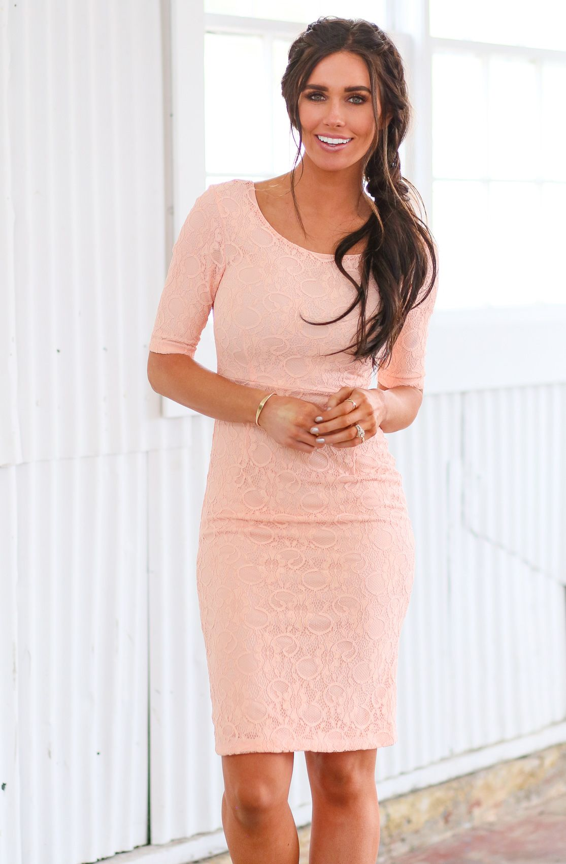 620d1c6cf6491 You'll love this chic, stylish lace modest pencil dress. Perfect for semi- formal events & as a Modest Bridesmaid Dress! June Modest Dress in Peach  Lace, ...