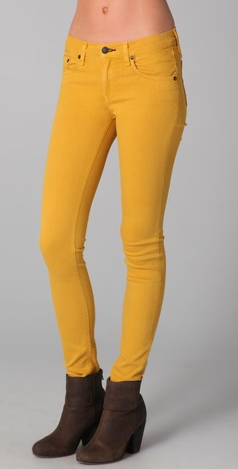 yellow skinny jeans - Jean Yu Beauty