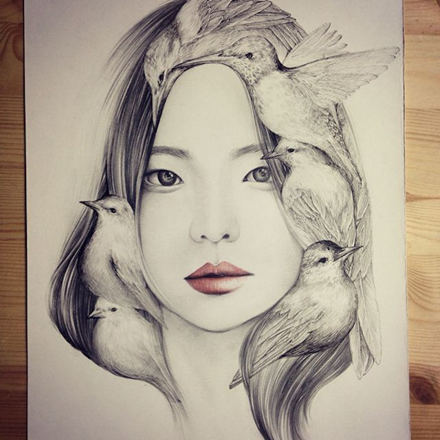 The Girl And The Birds Drawings Portrait Illustration Bird Drawings Portrait