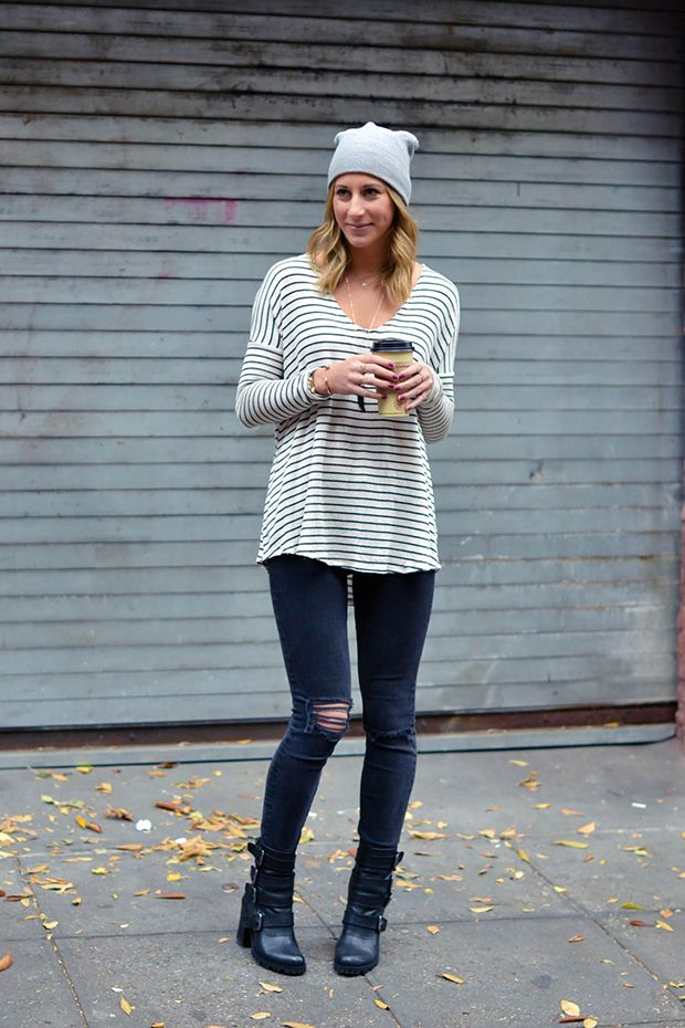 fall outfit, striped tee, ripped black skinnies, moto boots, beanie