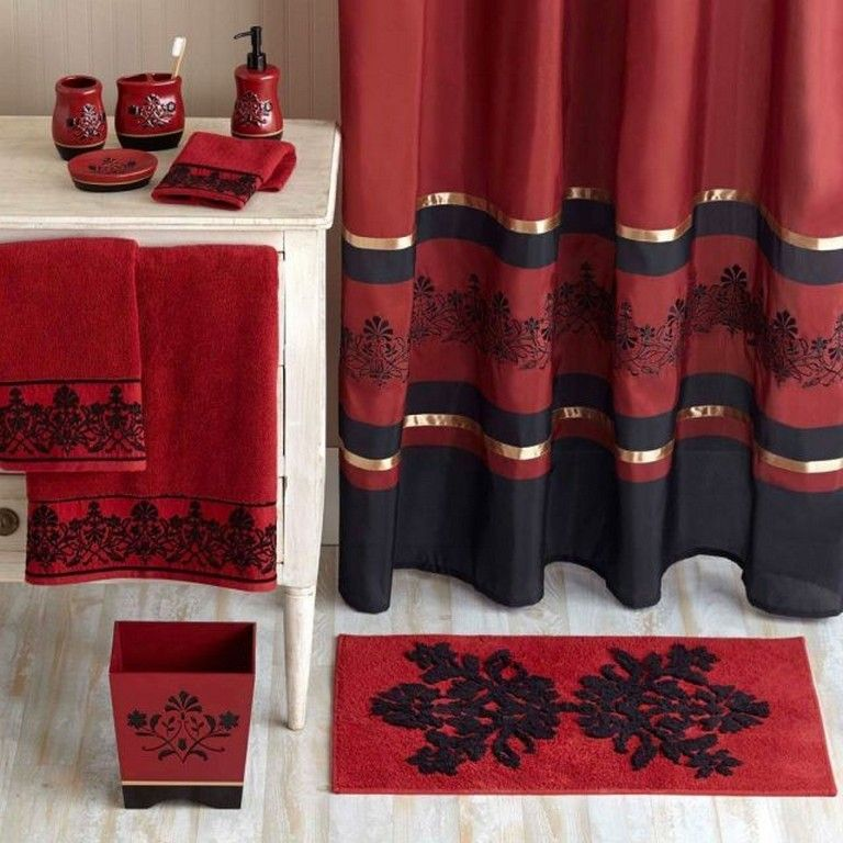 40 Favorite Red Black And White Bathroom Decor Ideas Bathroom Bathroomdecor Bathroomdecorideas Red Shower Curtains Red Bathroom Decor Black Shower Curtains