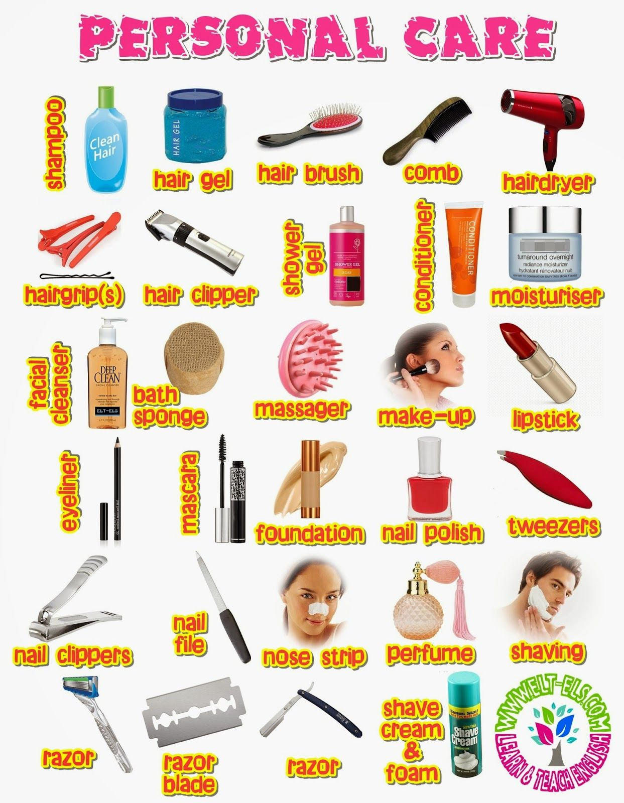 Personal Care Vocabulary With Images